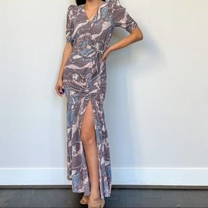 AFRM Nile Ruched Maxi snake Print Dress XS